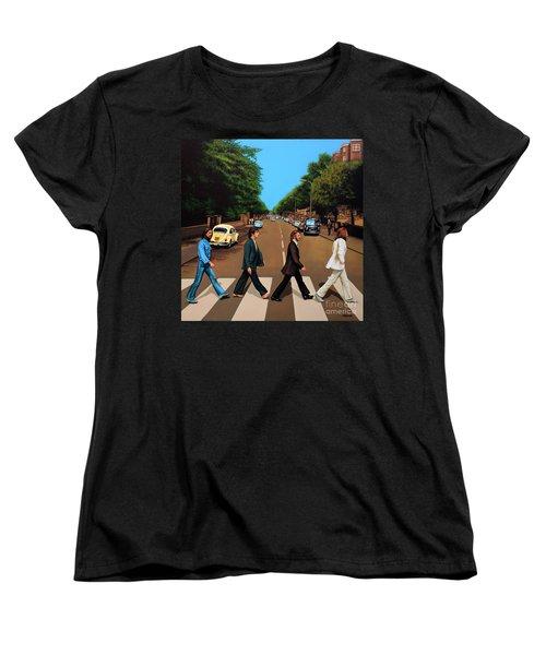 The Beatles Abbey Road Women's T-Shirt (Standard Cut) by Paul Meijering