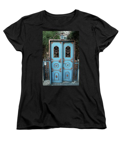 The Blue And Gold Door Of Jerusalem Women's T-Shirt (Standard Cut) by Yoel Koskas