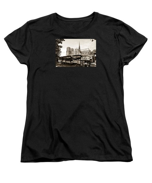 The Bouquinistes And Notre-dame Cathedral Women's T-Shirt (Standard Cut) by Perry Van Munster