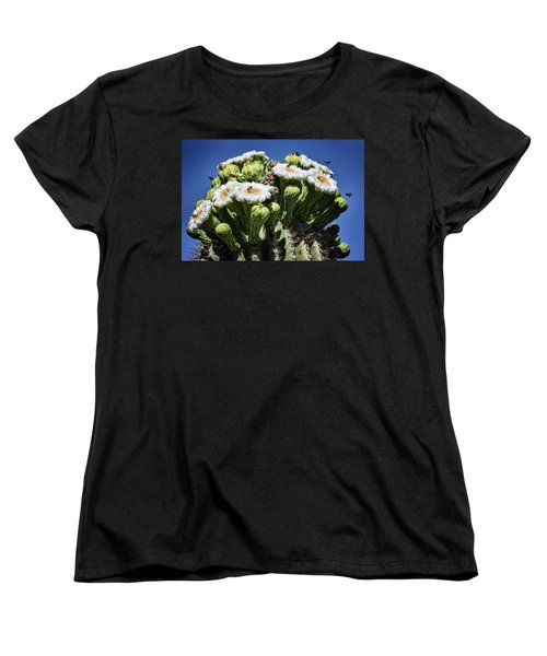 Women's T-Shirt (Standard Cut) featuring the photograph The Busy Little Bees On The Saguaro Blossoms  by Saija Lehtonen