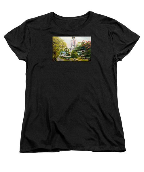 Women's T-Shirt (Standard Cut) featuring the painting The Church In My Village by Jason Sentuf