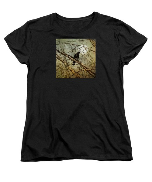 The Crow And The Moon Women's T-Shirt (Standard Cut) by Theresa Tahara