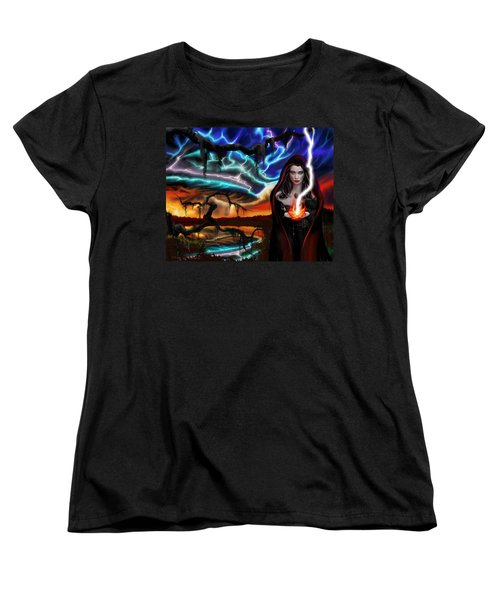 Women's T-Shirt (Standard Cut) featuring the painting The Dark Caster Calls The Storm by James Christopher Hill
