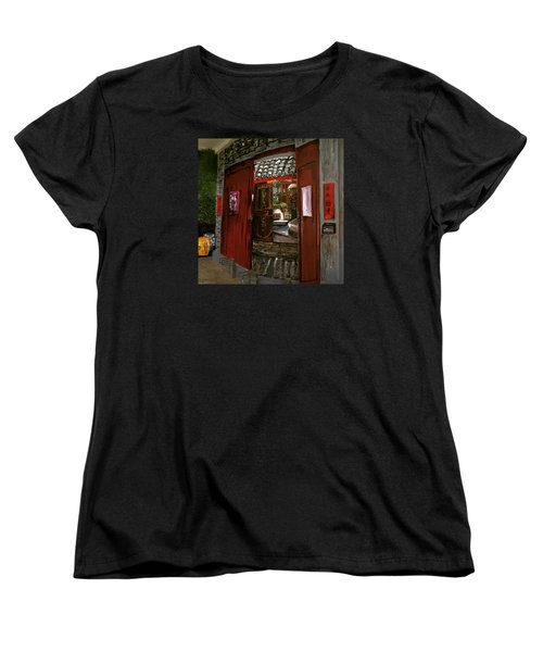 Women's T-Shirt (Standard Cut) featuring the painting The Red Door by Belinda Low