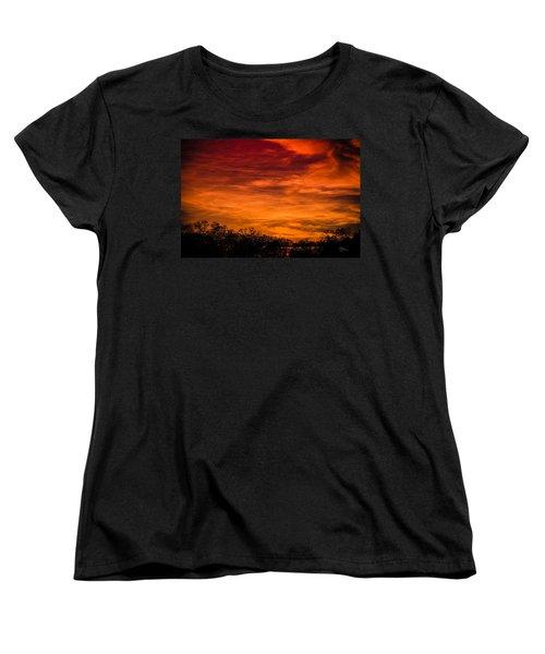 The Evening Sky Of Fire Women's T-Shirt (Standard Cut) by David Collins