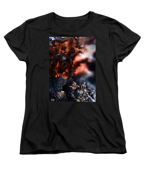 Women's T-Shirt (Standard Cut) featuring the painting The Fall Of Azturath by Curtiss Shaffer