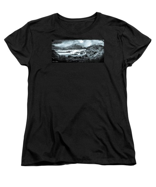 Women's T-Shirt (Standard Cut) featuring the photograph The Falls In Black And White by Andrew Matwijec