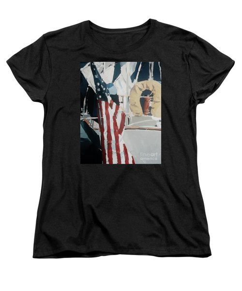 Women's T-Shirt (Standard Cut) featuring the painting The Flag by Andrew Drozdowicz
