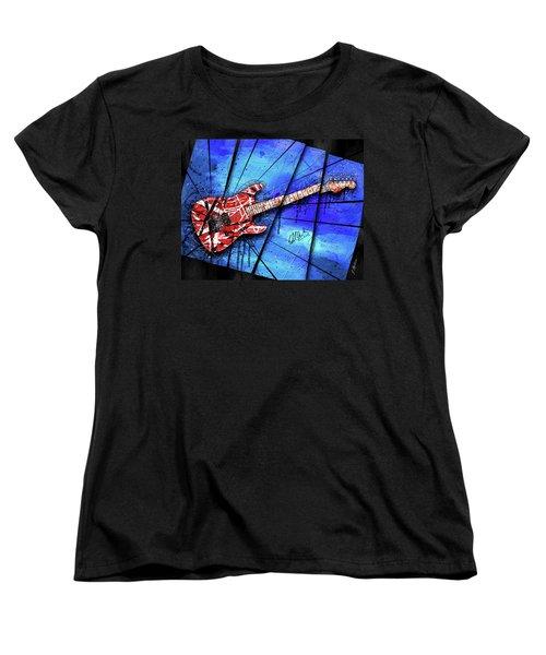 The Frankenstrat On Blue I Women's T-Shirt (Standard Cut) by Gary Bodnar