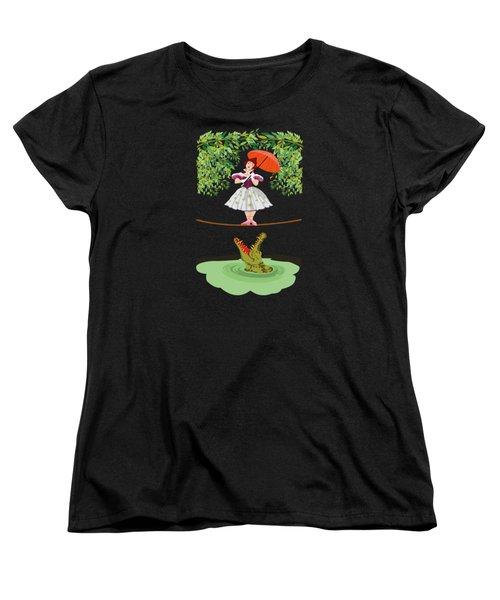 The Girl With A Crocodile  Women's T-Shirt (Standard Cut)