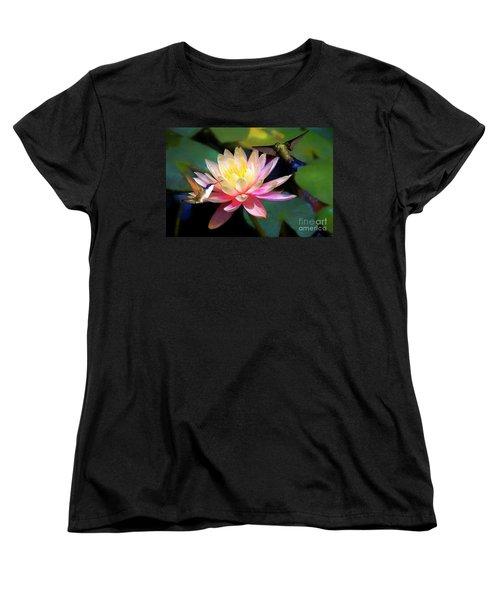 The Grutas Water Lillie With Hummingbirds Women's T-Shirt (Standard Cut) by John Kolenberg