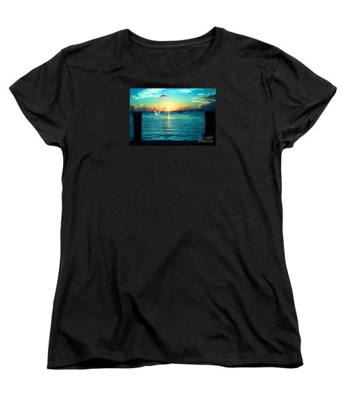 Women's T-Shirt (Standard Cut) featuring the painting The Gull by Judy Kay