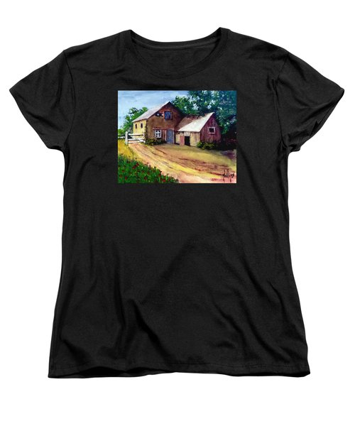Women's T-Shirt (Standard Cut) featuring the painting The House Barn by Jim Phillips