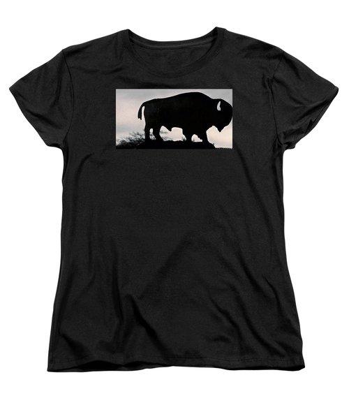 Women's T-Shirt (Standard Cut) featuring the photograph The Iron Buffalo Push by John Glass