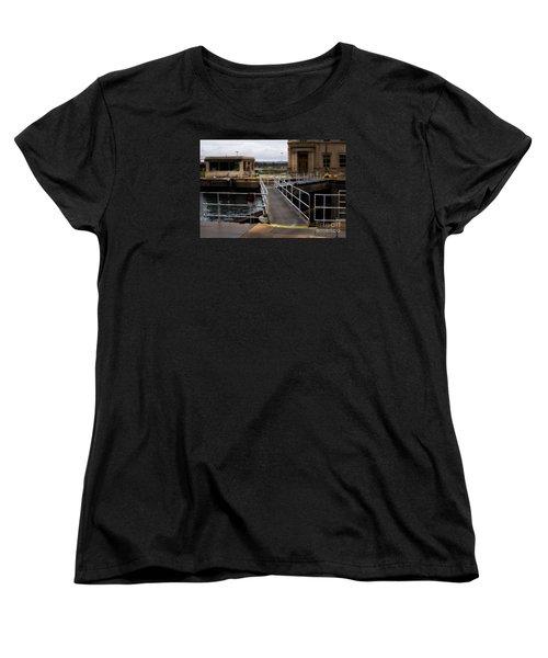 The Locks At Sault Ste Marie Michigan Women's T-Shirt (Standard Cut) by David Blank