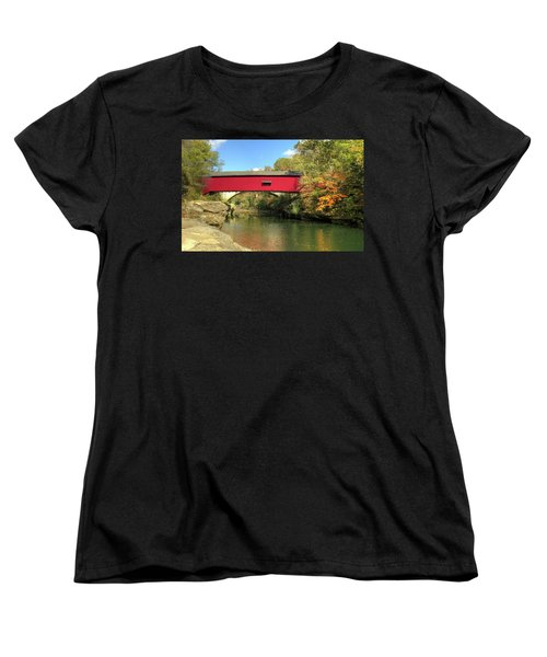 Women's T-Shirt (Standard Cut) featuring the photograph The Narrows Covered Bridge - Sideview by Harold Rau