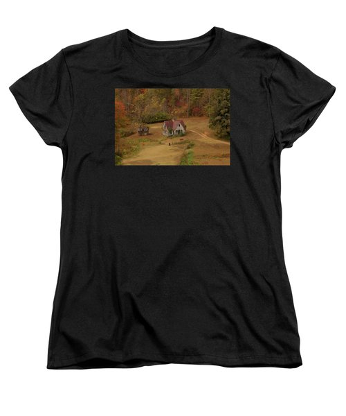 Women's T-Shirt (Standard Cut) featuring the digital art The Oldest House In North Carolina by Sharon Batdorf