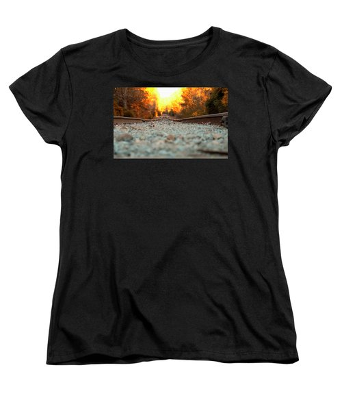 Women's T-Shirt (Standard Cut) featuring the digital art The Railroad Tracks From A New Perspective by Chris Flees
