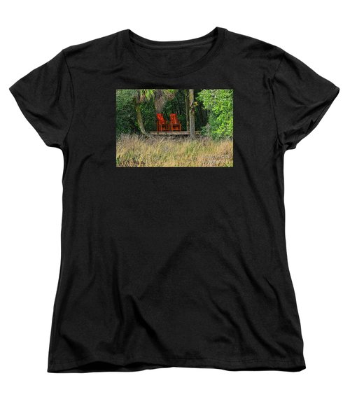 Women's T-Shirt (Standard Cut) featuring the photograph The Red Chairs by Deborah Benoit
