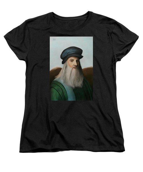 The Master Of Renaissance - Leonardo Da Vinci  Women's T-Shirt (Standard Cut) by Vishvesh Tadsare