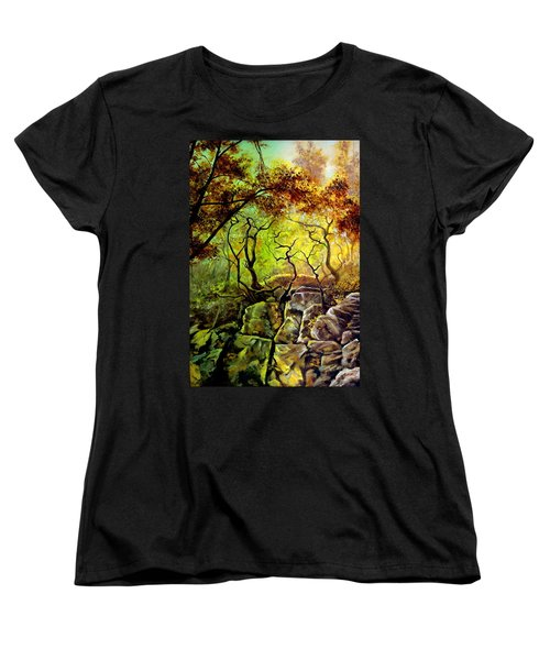 Women's T-Shirt (Standard Cut) featuring the painting The Rocks In Starachowice by Henryk Gorecki