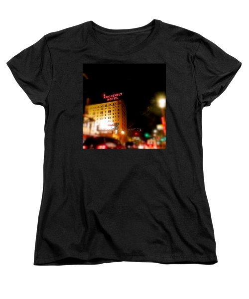 Women's T-Shirt (Standard Cut) featuring the photograph The Roosevelt Hotel By David Pucciarelli  by Iconic Images Art Gallery David Pucciarelli