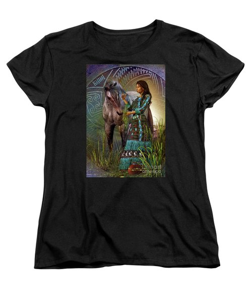 Women's T-Shirt (Standard Cut) featuring the digital art The Horse Whisperer by Shadowlea Is