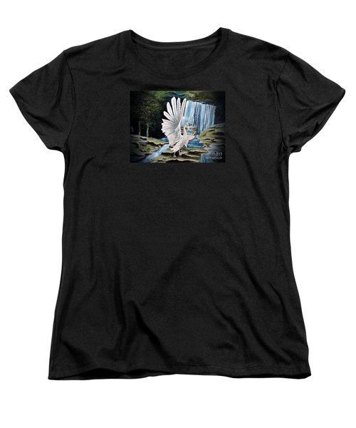 Women's T-Shirt (Standard Cut) featuring the painting The Swan by Dianna Lewis