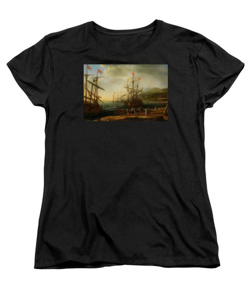 Women's T-Shirt (Standard Cut) featuring the painting The Trojan Women Setting Fire To The Fleet by Claude Lorrain