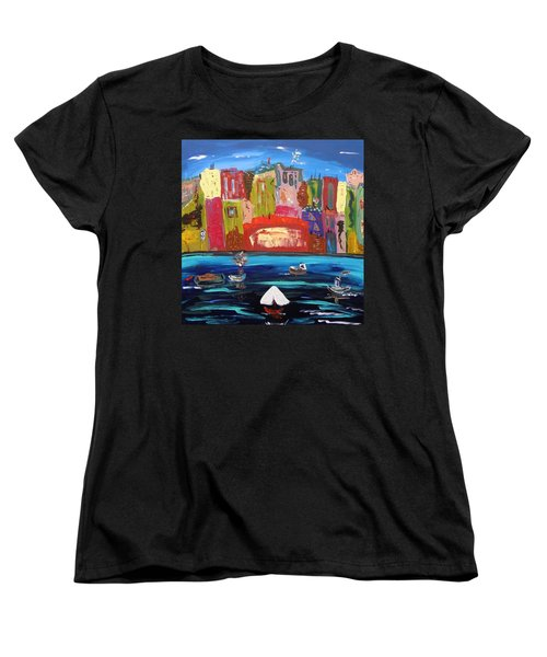 Women's T-Shirt (Standard Cut) featuring the painting The Vista Of The City by Mary Carol Williams