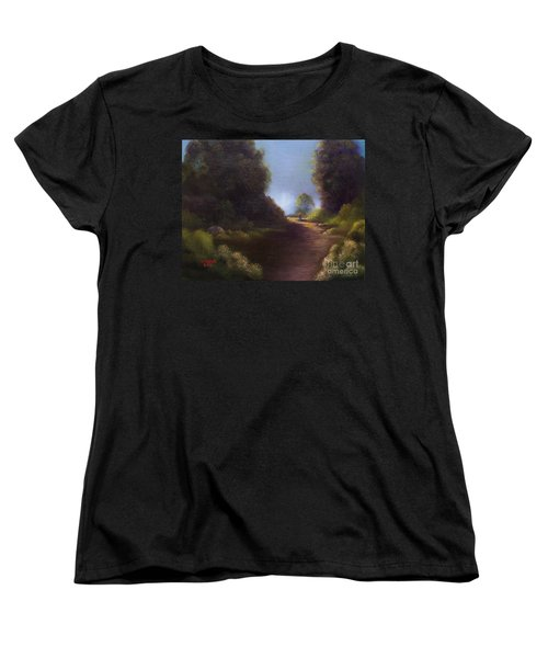 Women's T-Shirt (Standard Cut) featuring the painting The Walk Home by Marlene Book