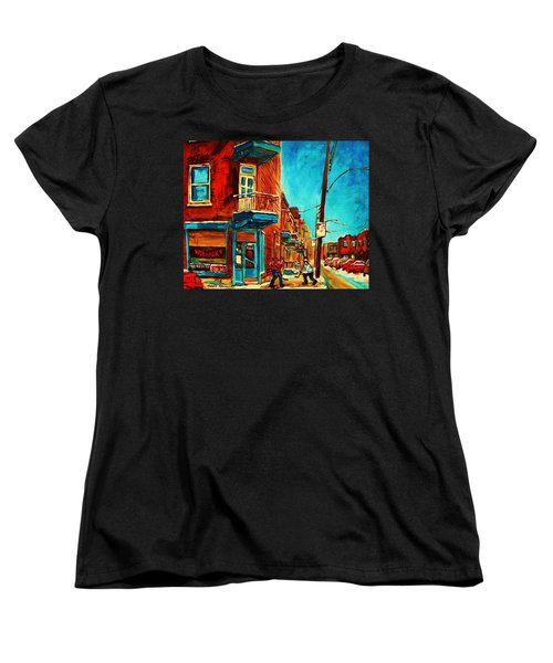 Women's T-Shirt (Standard Cut) featuring the painting The Wilensky Doorway by Carole Spandau