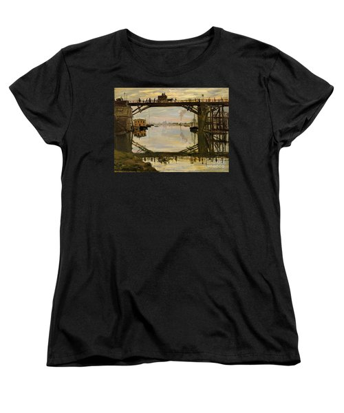 The Wooden Bridge Women's T-Shirt (Standard Cut) by Monet