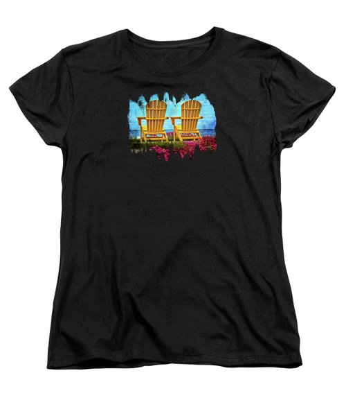 The Yellow Chairs By The Sea Women's T-Shirt (Standard Cut) by Thom Zehrfeld