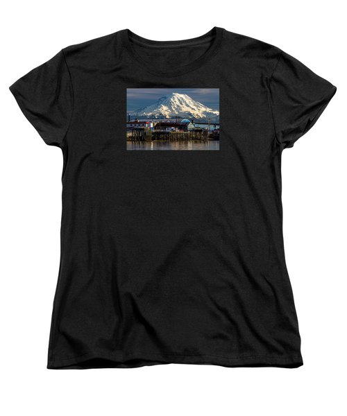 Women's T-Shirt (Standard Cut) featuring the photograph Thea Foss Waterway And Rainier 2 by Rob Green
