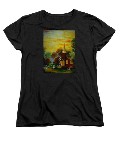 Women's T-Shirt (Standard Cut) featuring the painting This Sunday by Emery Franklin