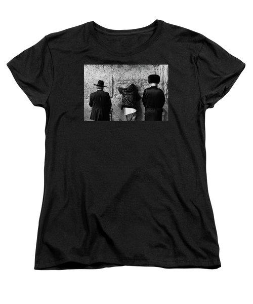 Women's T-Shirt (Standard Cut) featuring the photograph Three Different Selichot Prayers At The Kotel by Yoel Koskas