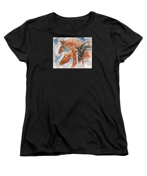 Three Horses Women's T-Shirt (Standard Cut) by Mary Armstrong