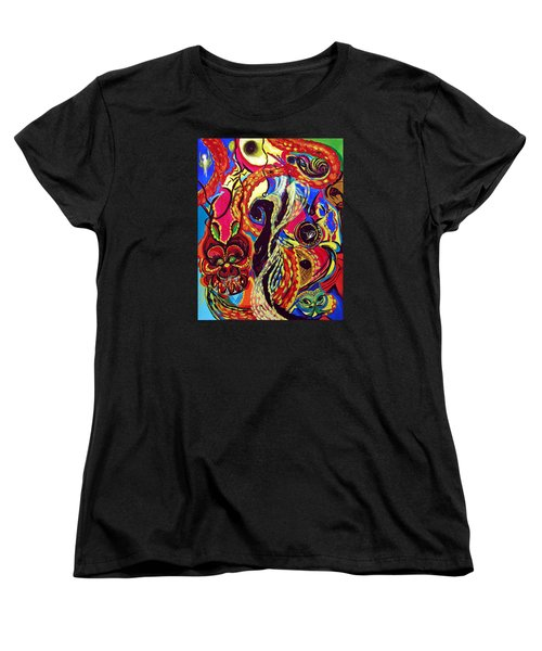 Women's T-Shirt (Standard Cut) featuring the painting Angel And Dragon by Marina Petro
