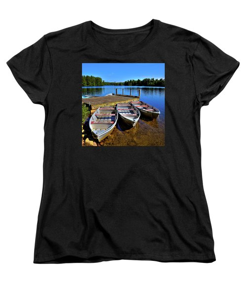 Three Rowboats Women's T-Shirt (Standard Cut) by David Patterson