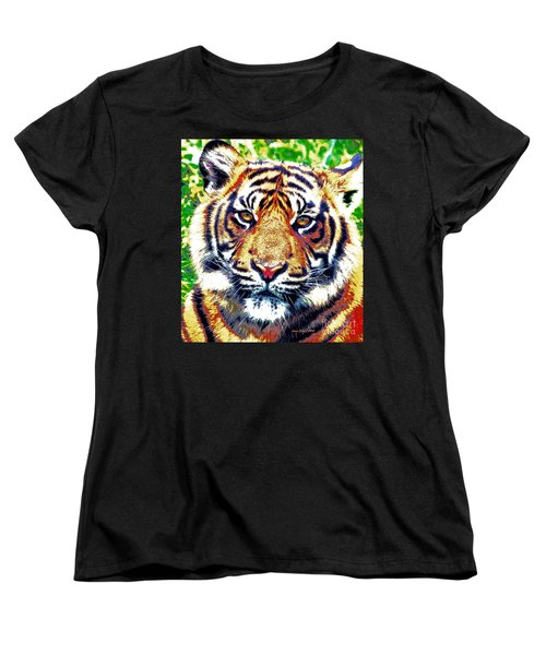 Women's T-Shirt (Standard Cut) featuring the painting Tiger Art by Annie Zeno