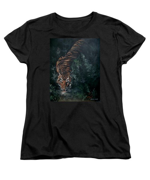 Women's T-Shirt (Standard Cut) featuring the painting Tiger by Bryan Bustard