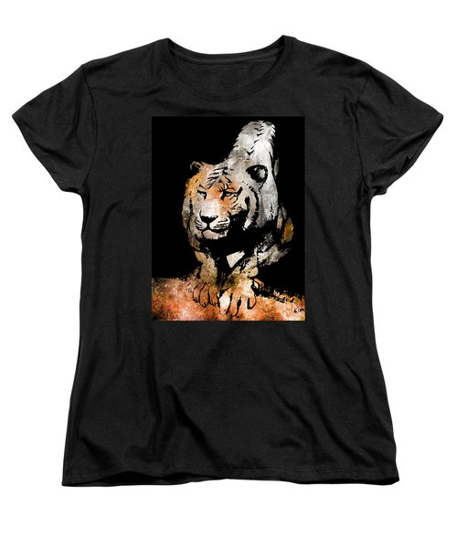 Women's T-Shirt (Standard Cut) featuring the drawing Tiger Collage #6 by Kim Gauge