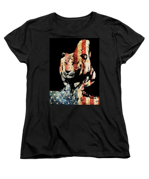 Women's T-Shirt (Standard Cut) featuring the drawing Tiger Collage #9 by Kim Gauge