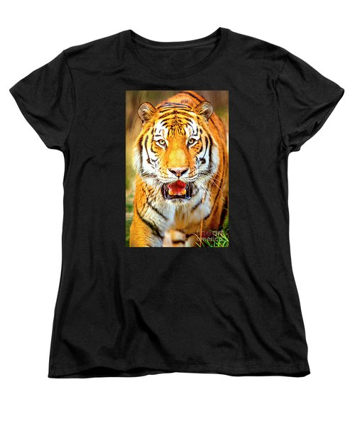 Tiger On The Hunt Women's T-Shirt (Standard Cut) by David Millenheft