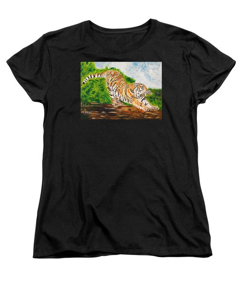 Tiger Stretching Women's T-Shirt (Standard Cut) by Valerie Ornstein