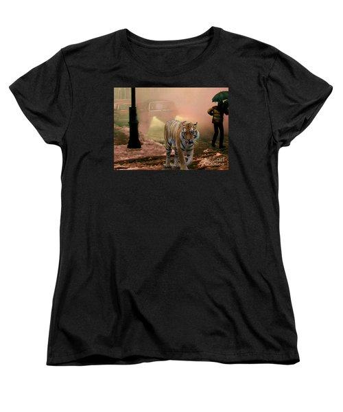 Tiger Walking Down A Snow Slushy Street Women's T-Shirt (Standard Cut) by Wernher Krutein