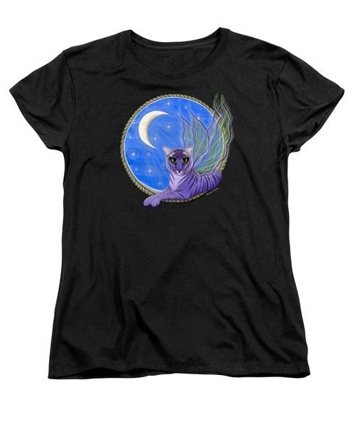 Women's T-Shirt (Standard Cut) featuring the painting Tigerpixie Purple Tiger Fairy by Carrie Hawks