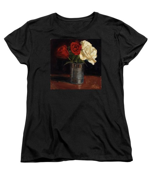 Women's T-Shirt (Standard Cut) featuring the painting Tin Can Love by Billie Colson