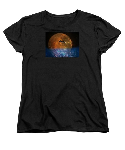 To The Moon And Back Cat Women's T-Shirt (Standard Cut) by Kathy Barney